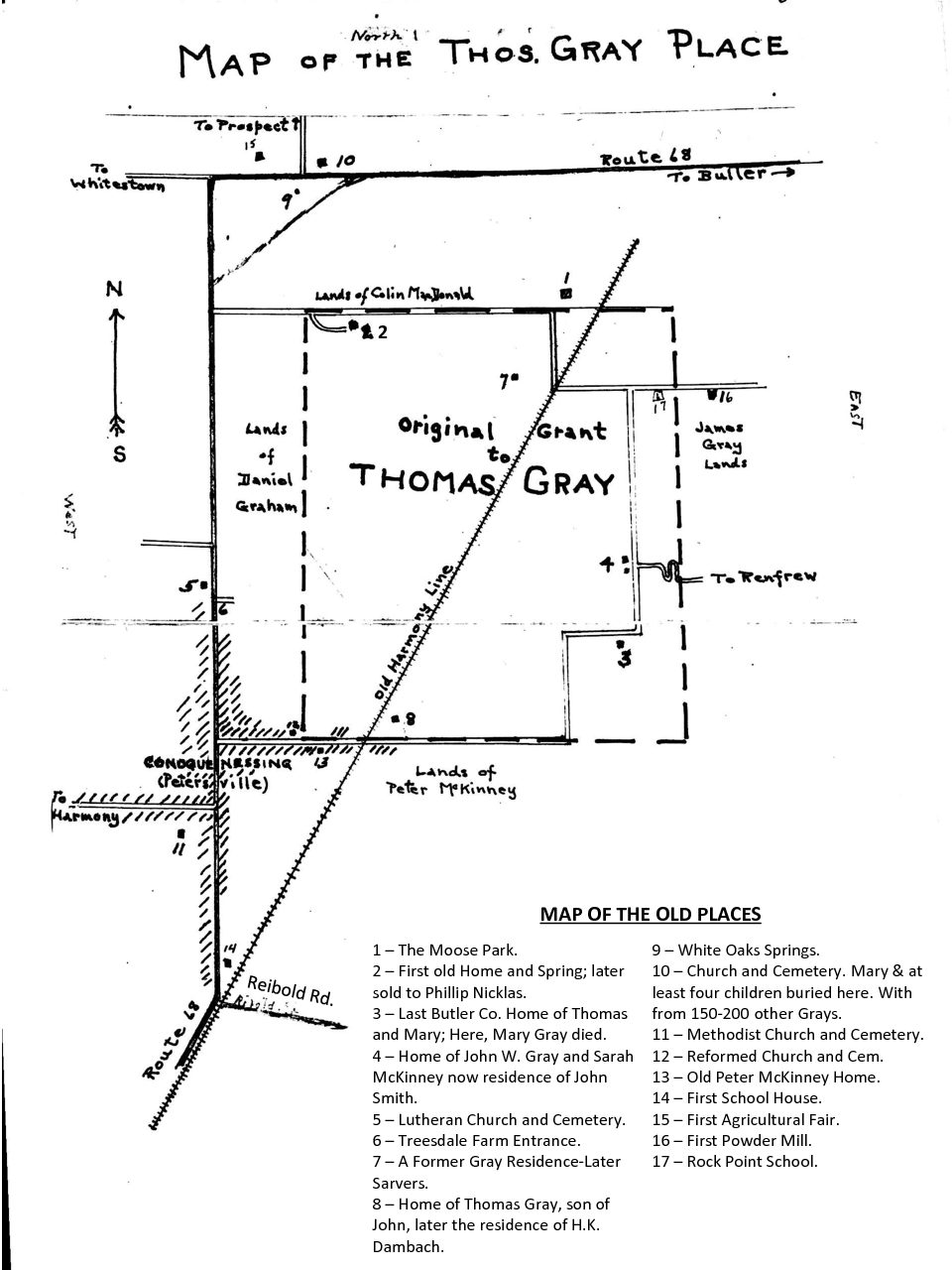 map of the thomas gray place butler county, pa